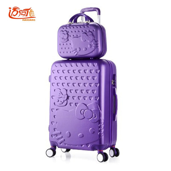"Hello Kitty children's suitcases luggage set 20""22""24""26""28"" inch with 14"" make up case, girls waterproof bag on wheels"