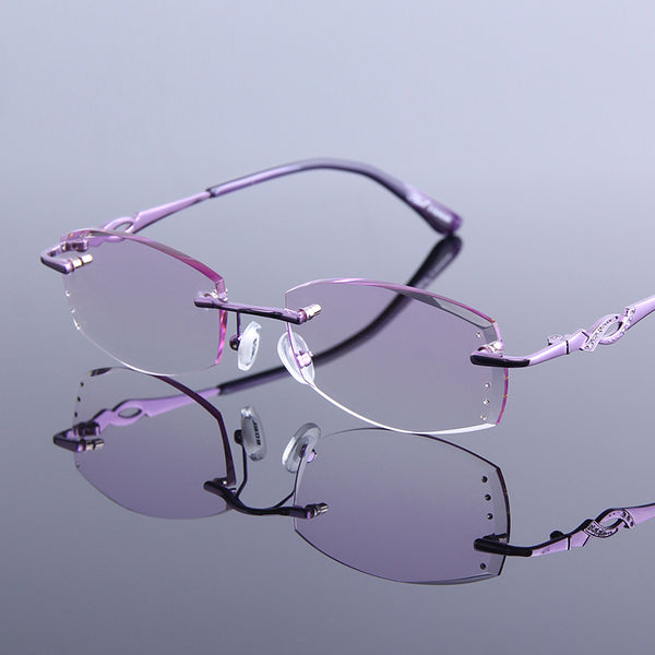 High Grade Rhinestone Reading Glasses Women Diamond Cutting Rimless Glasses High Clear Lens Pink Readers Presbyopic Eye Glasses