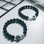 High Quality 10mm Black natural stone + Black Quartz Rutilated Obsidian Bead Bracelet,European Crystal Jewelry Men Bijoux Gift
