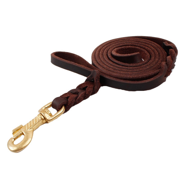 High Quality Genuine Leather Pet Dog Leash Luxury Strong Puppy Collar Leash Lead For Large Dogs Basic Leashes For Puppy S/M/L/XL