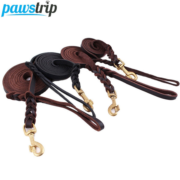 High Quality Genuine Leather Pet Dog Leash Luxury Strong Puppy Collar Leash Lead For Large Dogs S/M/L/XL
