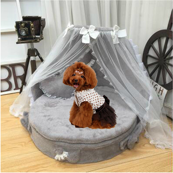 High Quality Pet Princess Bed Luxury Designer Handmade Kennel Cat House Small Dog Round Beds for Medium Dogs Couch Cover Home