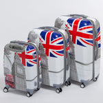 High quality 20 24 28inches(3 pieces/set) pc hardside trolley luggage,man and woman travel luggage bags of london bus,uk flag