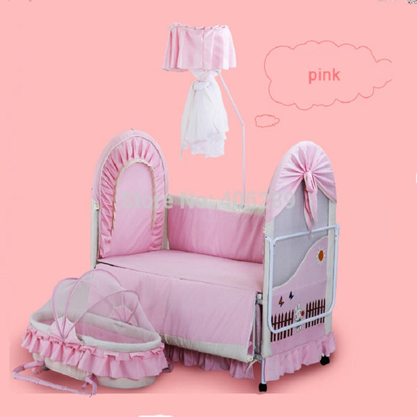 High quality export  Baby Bed 0~12 years old no smell  Iron baby cradle Child Bed send 7pcsBaby Bedding Set