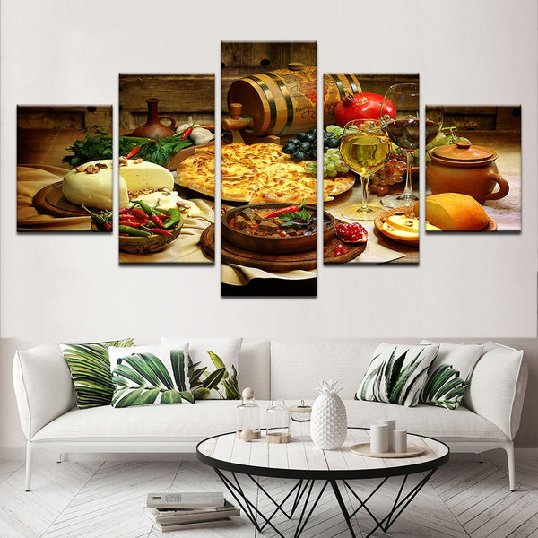 Home Decor Painting Modern Wall Art Frame Restaurant Kitchen Modular Posters Pictures 5 Pieces Food And Drinks HD Printed Canvas