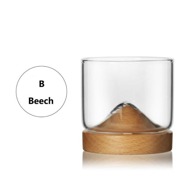 Whiskey Glass Mountain Wooden Bottom Wine Transparent Glass Cup For Whiskey Wine Vodka Bar Club