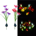 Hot Fashion 1PC Solar Light 4 Heads Solar Lantern LED Decorative Outdoor Lawn Lamp 4 Flower Lily Garden Lamp Solar Flower light
