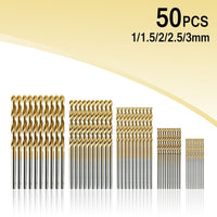 50Pcs Titanium Coated Drill Bits HSS High Speed Steel Set High Quality 1/1.5/2/2.5/3mm