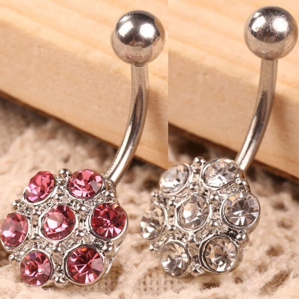 Hot Selling Fashion Delicate Stainless Rhinestone Flower Crystal Navel Belly Button Ring Body Piercing Exquisite Chic Appearance