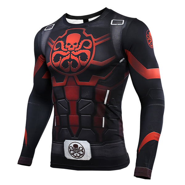 Hydra Captain American 3D Printed T shirts Men Avengers 4 Endgame Compression Shirt Cosplay Costume Long Sleeve Tops For Male