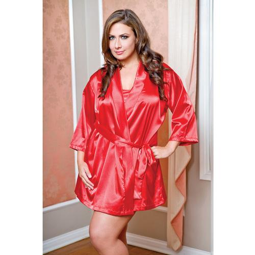 Satin 3/4 Sleeve Robe w/Matching Sash Red 3X/4X
