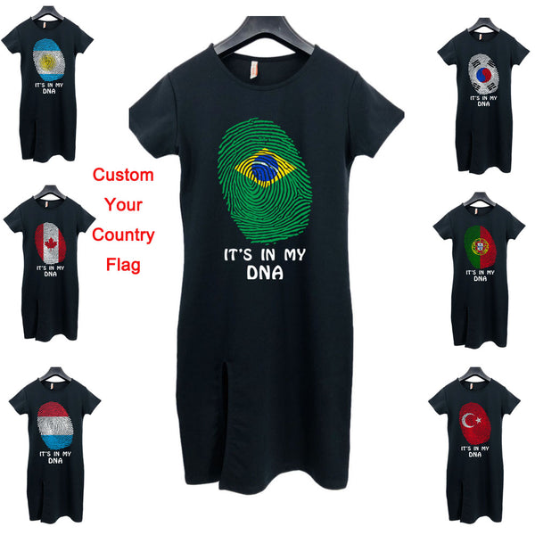 IT'S MY DNA Country Flag T Shirt Dres Korea Japan Russia USA United Kingdom Brazil Chile Netherlands Poland Switzerland Skirts