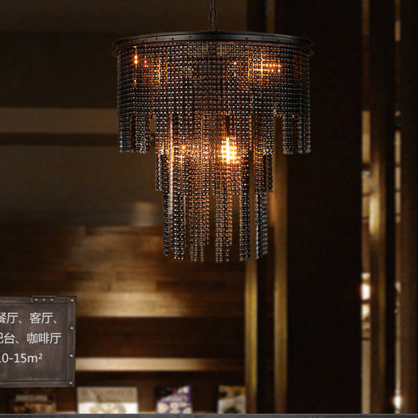 Industrial Metal Chain wrought iron chandelier lighting for Corridor Cafe Bar Bedroom Hotel Dining Room Store Chandeliers lamp