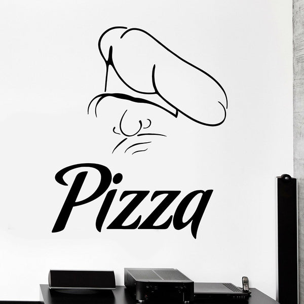 Italian Pizza Chef Vinyl Wall Decal Restaurant Wall Stickers For Kitchen Wallpaper For Walls In Rolls Fashion Trend Decor C654
