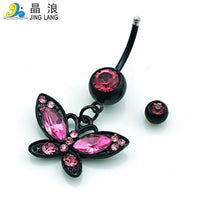 JINGLANG Belly Button Rings Surgical Steel Barbell Dangle Pink Rhinestone Butterfly Navel Body Piercing Jewelry