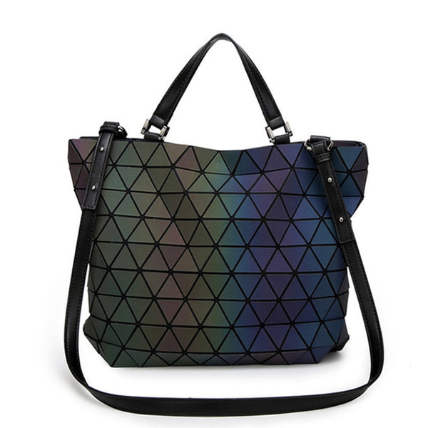 Japan luminous Women Bags Geometry Laser Folding Women Handbags Casual Tote Ladies Shoulder Messenger Bag Female Purses 2018