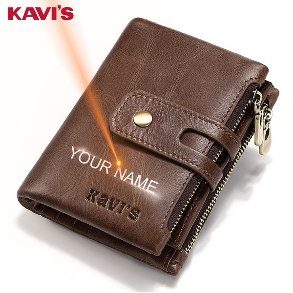 KAVIS Free Engraving Name Genuine Leather Wallet Men PORTFOLIO Gift Male Cudan Portomonee Perse Coin Purse Pocket Money Bag