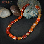 KCALOE Natural Red Stone Chokers Necklaces For Women Square Semi-Precious Stones Handmade Rope Statement Necklace Jewelry