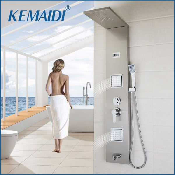 KEMAIDI  New Thermostatic Rainfall Shower Panel Rain Massage System Faucet with Jets Hand Shower Brushed Digital Thermometer