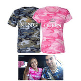 Couple Shirt KING QUEEN Printed Camouflage T Shirt Couple T Shirt for Lovers Men T Shirt Women Tops Couple. 1pc