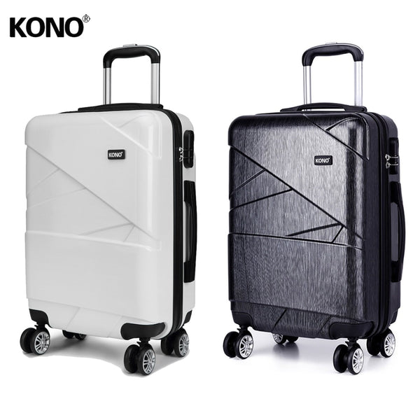 KONO 2 Pieces Rolling Luggage Suitcase Travel Bag Carry On Trolley Case 4 Wheels Spinner Lightweight Hardside PC 28 Inch K1772L