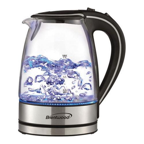 Brentwood 7 Cup Capacity Tempered Glass Tea Kettles-(Black)