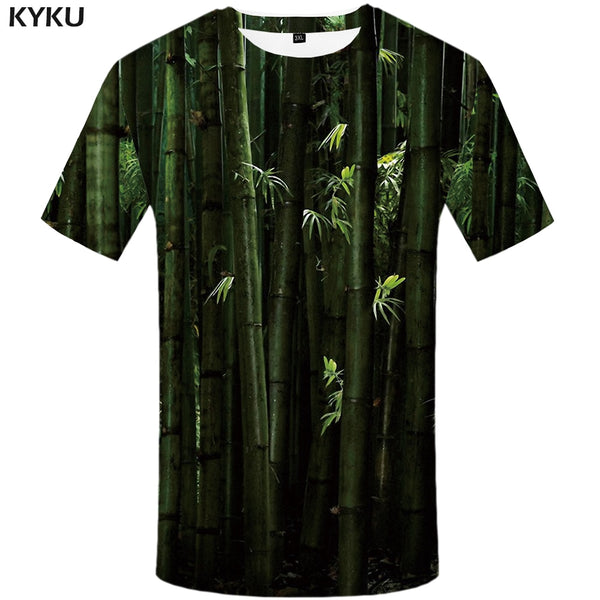 KYKU Bamboo Forest T Shirt Men Forest Tshirt China Funny T Shirts Hip Hop Tee Cool 3d T-shirt Summer Mens Clothing 2018 New Tops