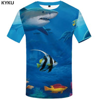KYKU Brand Fish T Shirt Mens Oversize Fishinger Tropical Printed Tshirt Men 3d T-shirt Funny T Shirts Animal White Mens Clothing