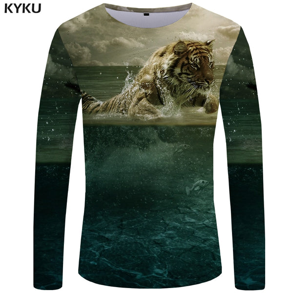 KYKU Tiger T shirt Men Long sleeve shirt Animal Rock Fish Tee Cloud Anime Ocean 3d T-shirt Cool Mens Clothing Fashion Male
