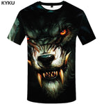 KYKU Wolf T Shirt Men Fangs Black Tshirt Eye 3d Print T-shirt Funny T Shirts Sexy Cool Mens Clothing Slim 2018 New Summer Tops 1