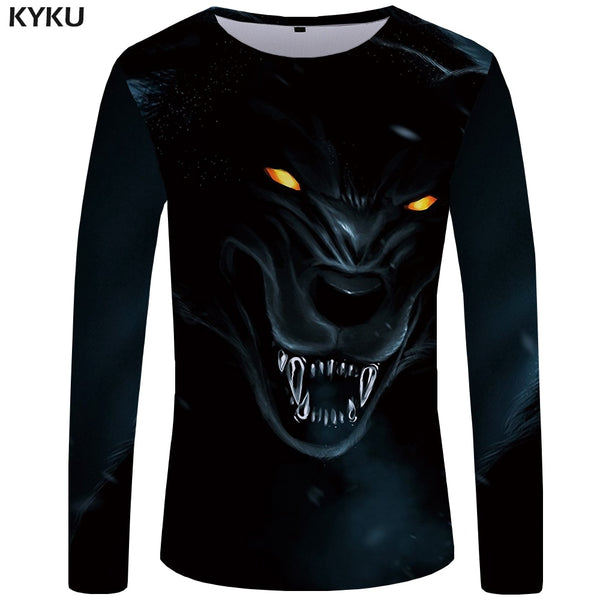 KYKU Wolf T shirt Men Long sleeve shirt Animal Cool New Hip hop Black Anime Clothes Japan Mens Clothing Fashion Man Slim