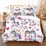 Kawaii Unicorn Bedding Set Single Bed Sheet Set Bed Linen Dovet Cover Set Cartoon Kids Luxury Bedding Home Textile