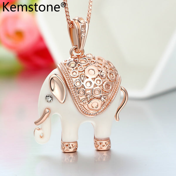 Kemstone Sexy Elephant Necklace & Pendants For Women Full Rhinestone Crystal Jewelry Necklaces,15""