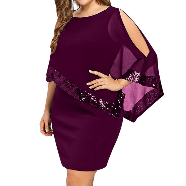 Kenancy Plus Size Women Dress Spring O-Neck Irregular Sleeve Cold Shoulder Dresses Fashion Sequin Bodycon Mini Party Dresses