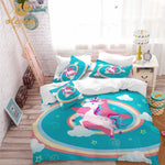 Kids Bedding Set Unicorn Duvet Cover Designer Cartoon Animal Printed Bed Line for Children Girl Princess Room 3pcs US/AU/RU Blue