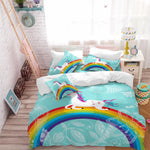 Kids Cartoon Unicorn Bedding Set Colorful Rainbow Print Duvet Cover Set Light Color Flowers Print Bed Cover Blue Bedclothes 3Pcs