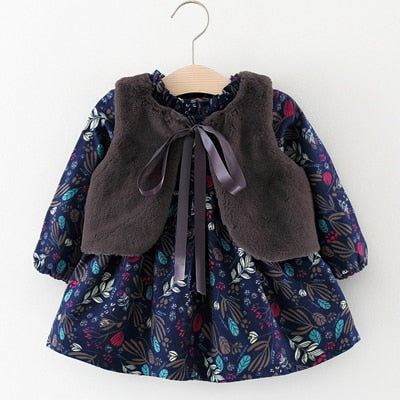 Kids Dresses For Girls Baby Girls Clothes Long-sleeved Floral Plus Velvet Dress+Fur Vest 2P Girls Clothes Sets girls dress