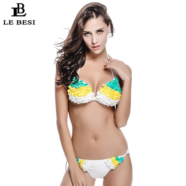 LEBESI 2017 New Bikini Set For Women Floral Sexy Swimwear Brazilian Swimsuit White Bandage Bathing Suit Push Up Bodysuit