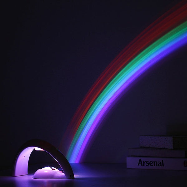 LED Colorful Rainbow Lamp LED Night Light Romantic Rainbow Projector Lamp Universal Projection Lamp Portable Home Decor