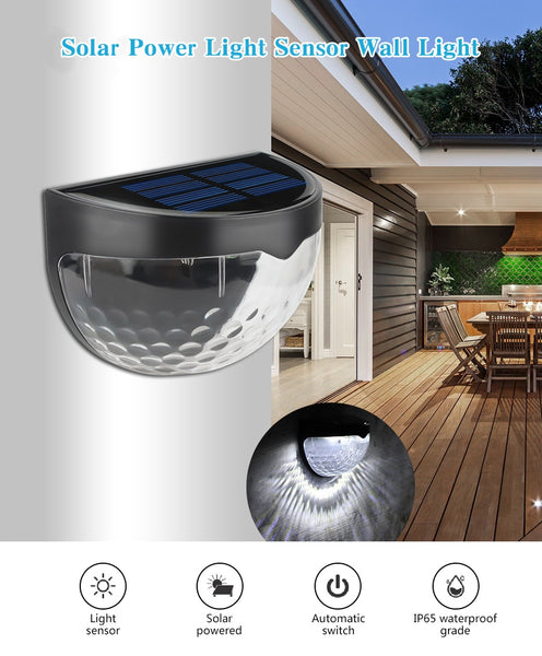 LED Solar Light Waterproof Solar Power Light Sensor Wall Light 6 LEDs Auto ON/OFF Outdoor Garden Patio Fence