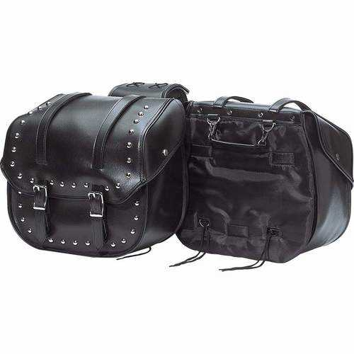 2pc Heavy-Duty Waterproof PVC with Studs Motorcycle Saddlebag Set