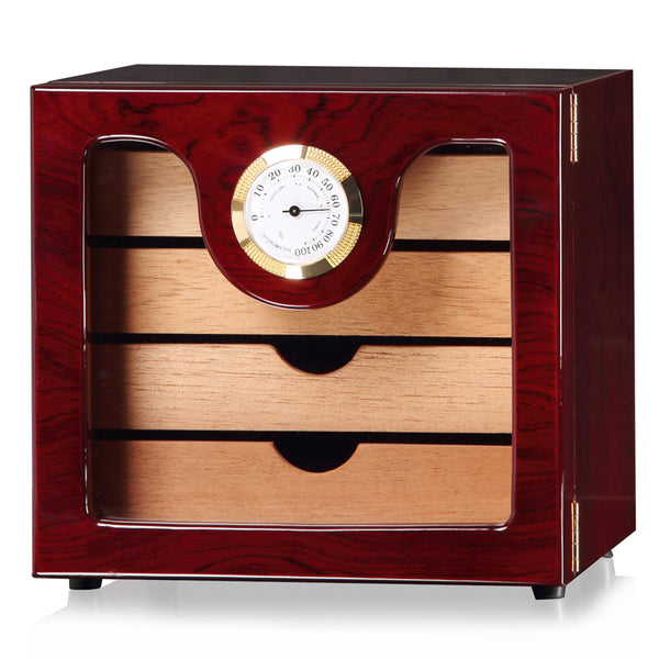 LUX 4 Layers Cigar Humidor Box cedar Wood Lined Hygrometer Humidifier