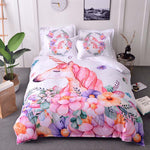 Lannidaa New Arrivals Pink Cute Unicorn Bedding Set Cartoon Duvet Cover Twin Full Queen King Size 3PCS  Single Double Bedclothes