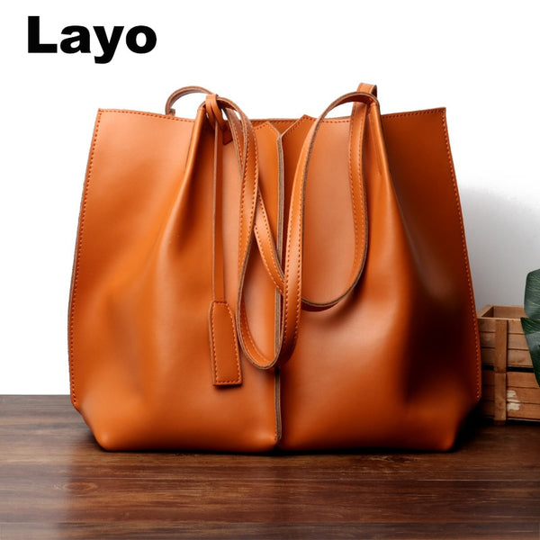 Layo Women bag split Leather Women's casual tote Lady Hand Bags With Purse Pocket Women Shoulder messenger bag Tote Mujer