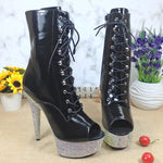 Leecabe 15CM/6Inches Rhinstone platform High Heel platform Boots open toe  Pole Dancing boot