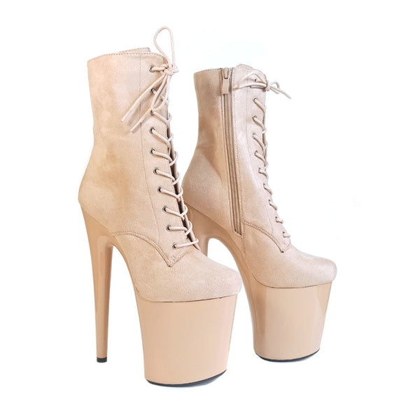 Dance Shoes Leecabe 20cm Pole Dancing Ankle Shoes High Heel Platform Boots Vegan With Suede Materials Cover Heels Pole Dancing Boot