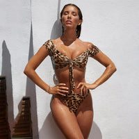 Leopard Print Bikinis Set 2019 Sexy Women Bandage High Waist Thong Swimwear Brazilian Push Up Bathing Suit Two Piece Swimsuit