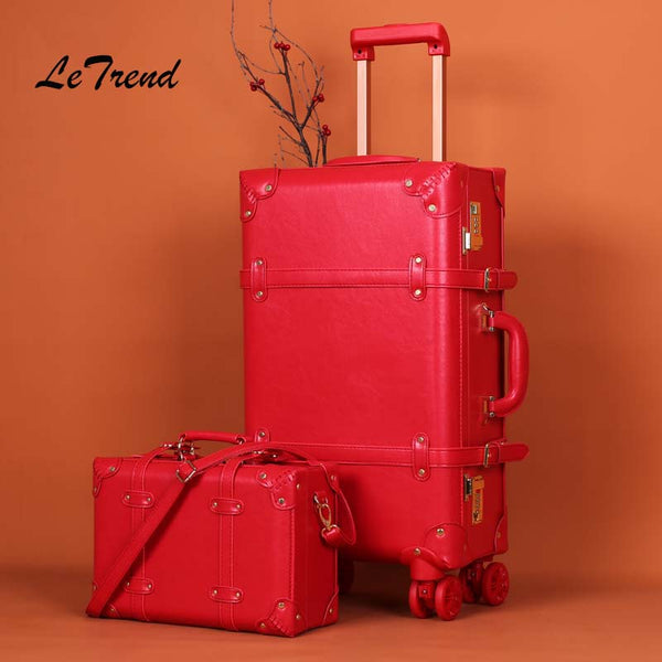 Letrend Big red wedding Suitcase Wheels Rolling Luggage Set Password Trolley Spinner Travel Bag Women 20 inch Carry On Trunk