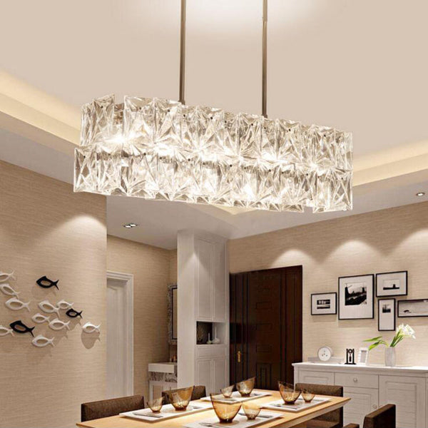 Long restaurant chandeliers creative wrought iron crystal bar lighting modern minimalist living room dining table lamps LED lamp