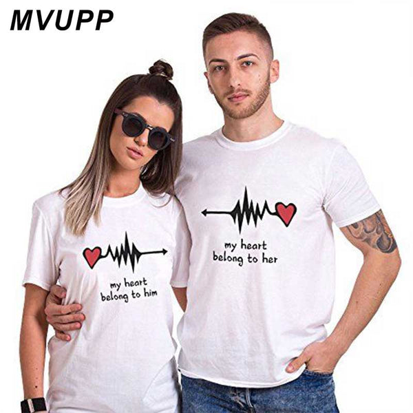 Love Heart Couple Shirt Summer Casual Cotton Letter Print. 1pc